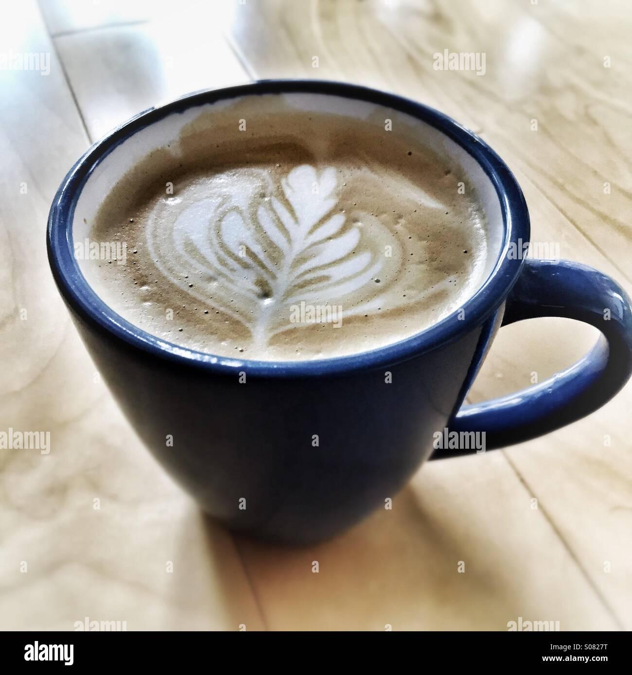 Latte art - Rosetta - Stock Image