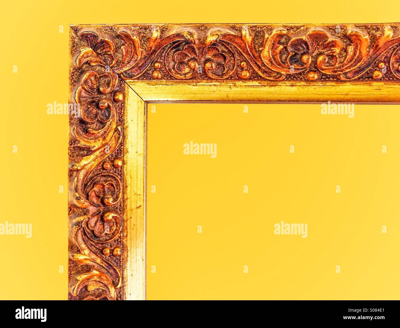 a430657d50c Gold color frame corner with yellow background Stock Photo ...