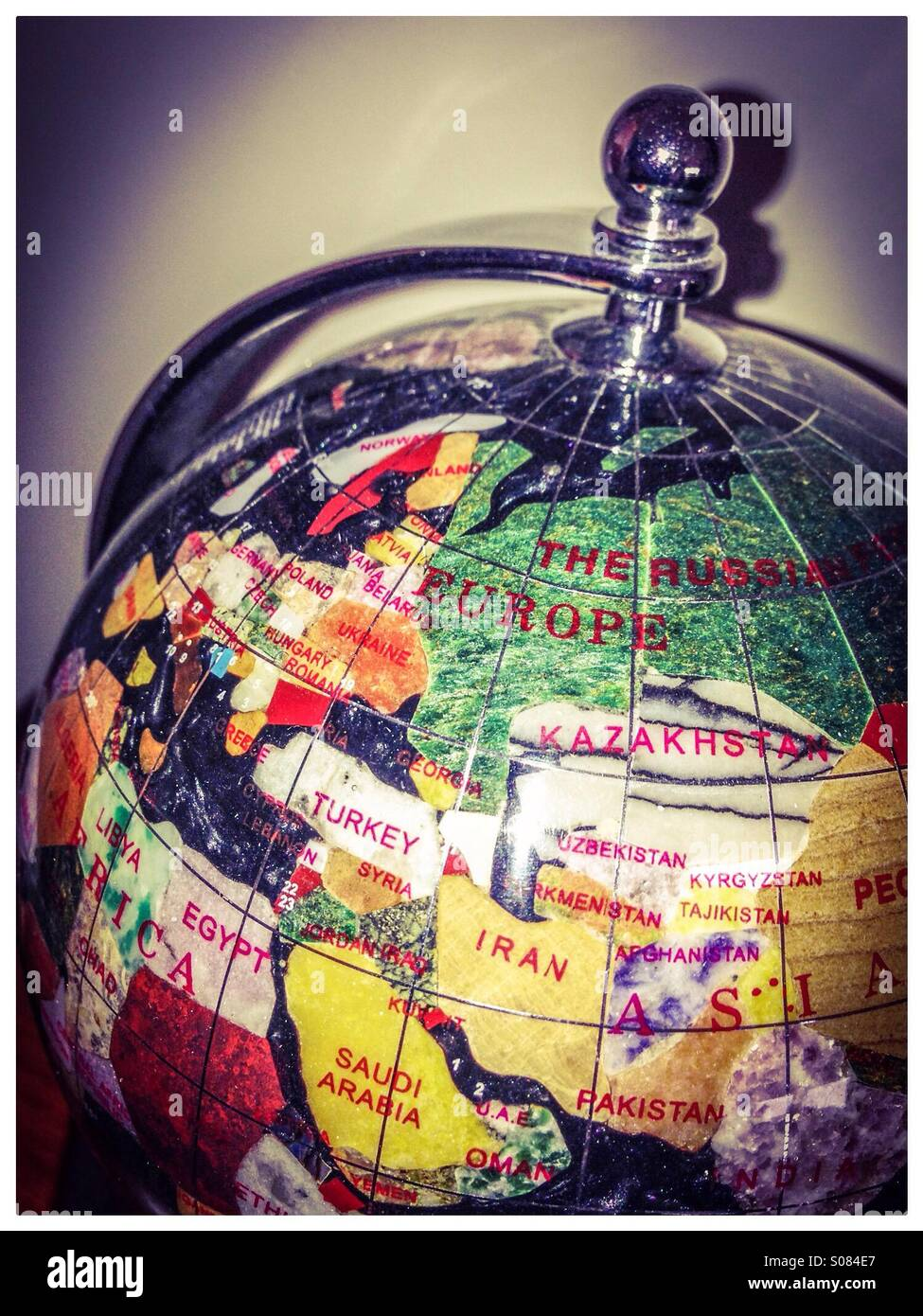 close up of marble world globe map