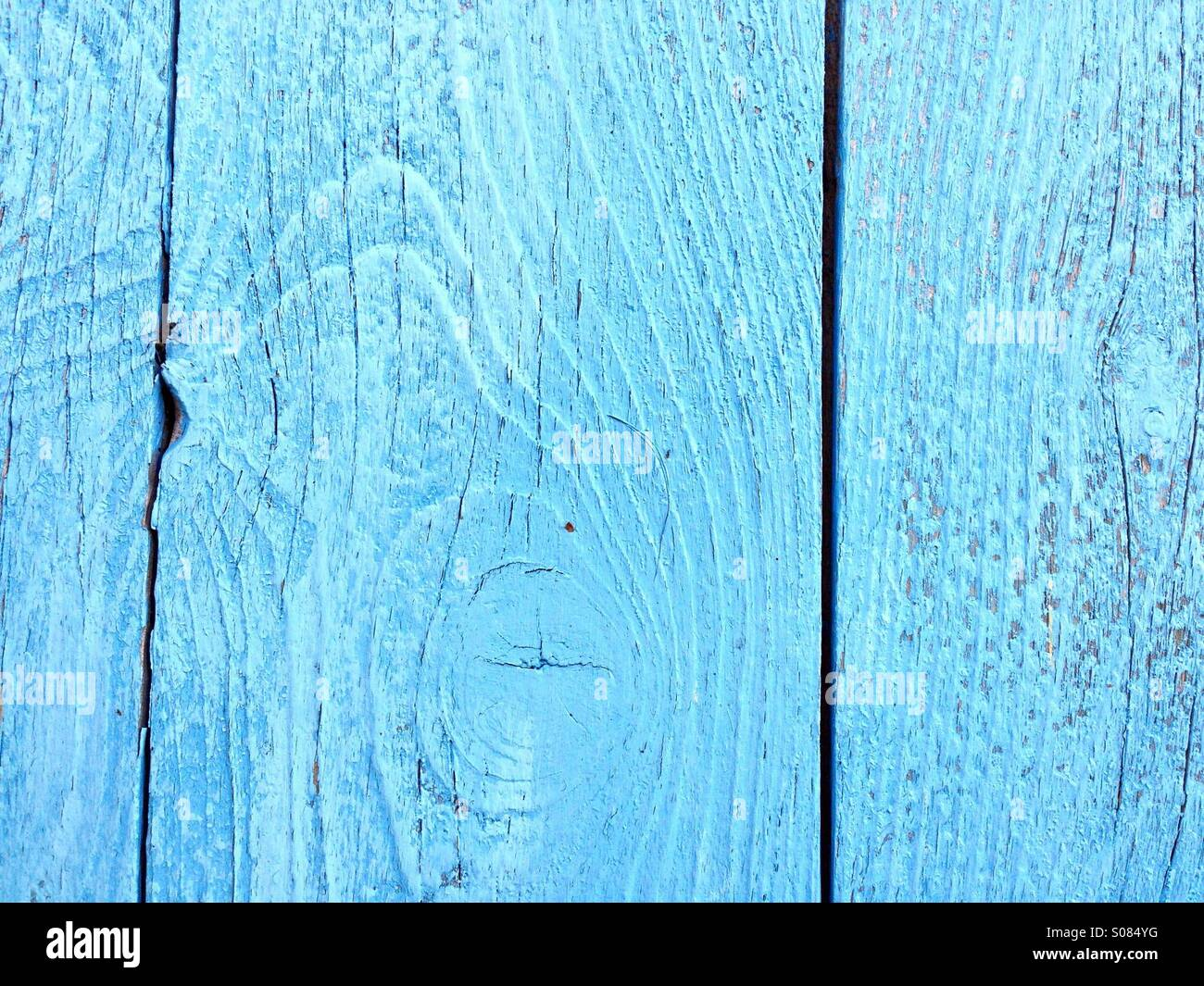 Wooden blue planks - Stock Image