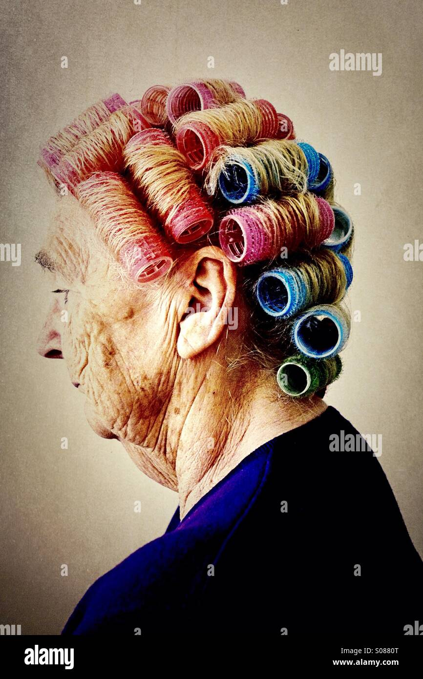 Hair rollers - Stock Image