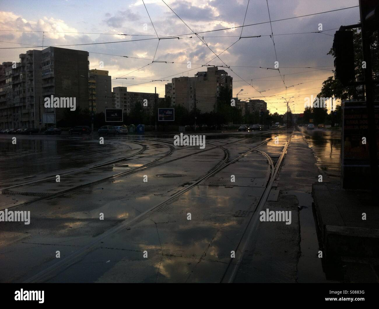 Bucharest sunset - Stock Image