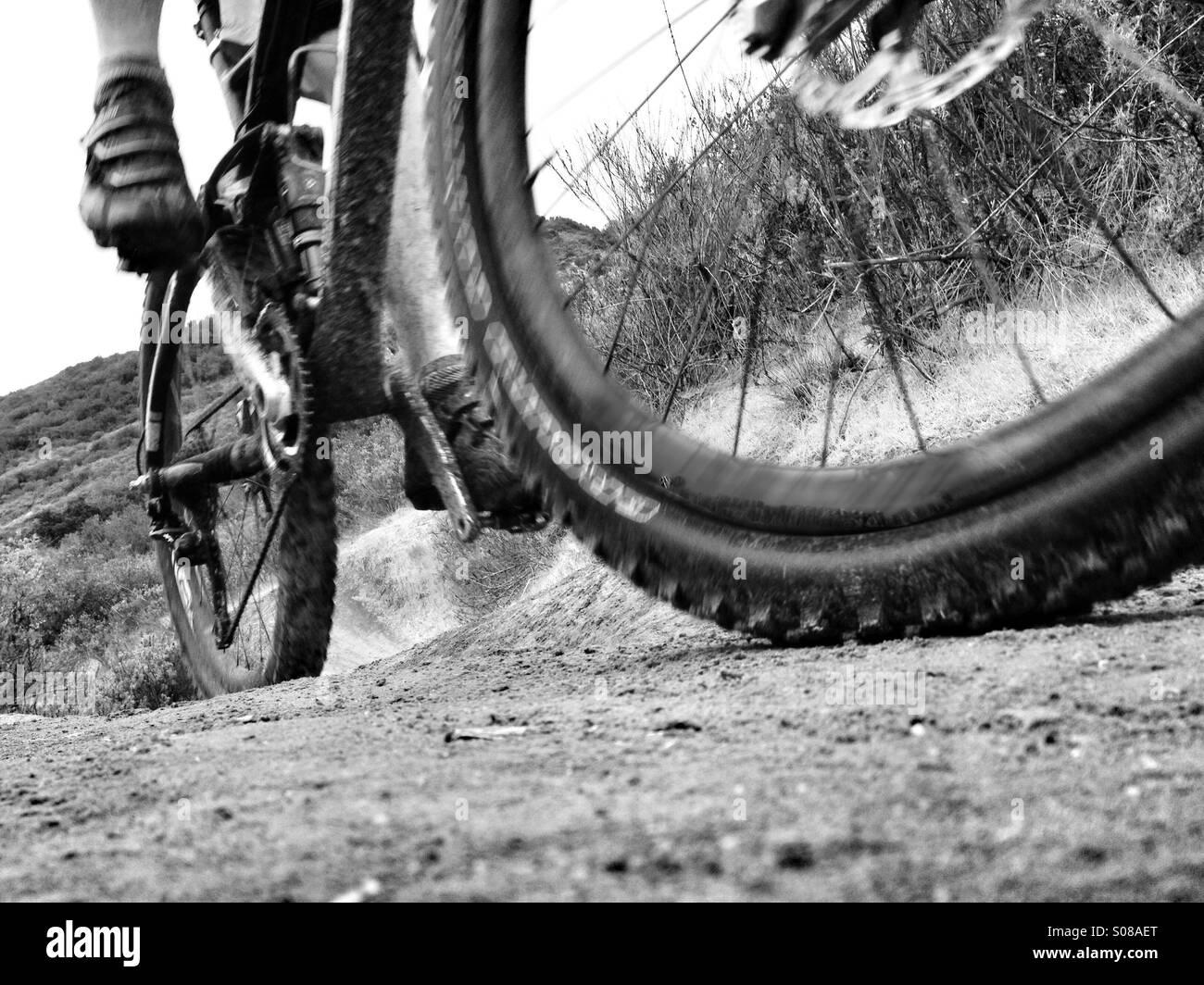 Mountain biker rides a dirt trail in Laguna Beach California USA. Stock Photo