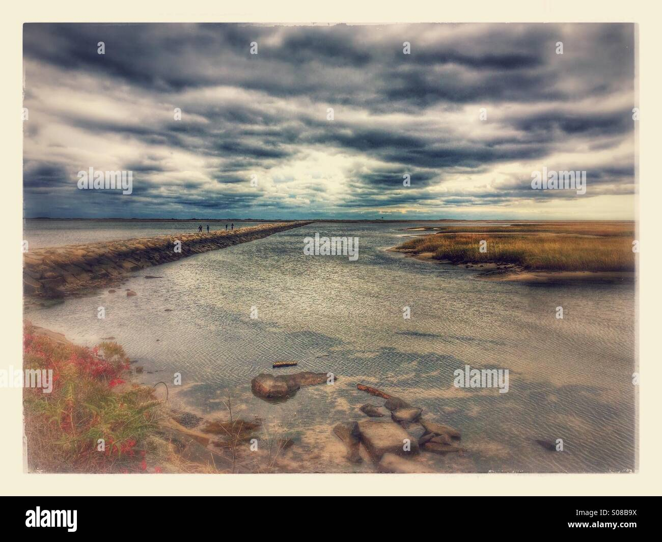 Provincetown Causeway, Cape Cod National Seashore, Massachusetts, USA. Stylised version of photograph made to look - Stock Image