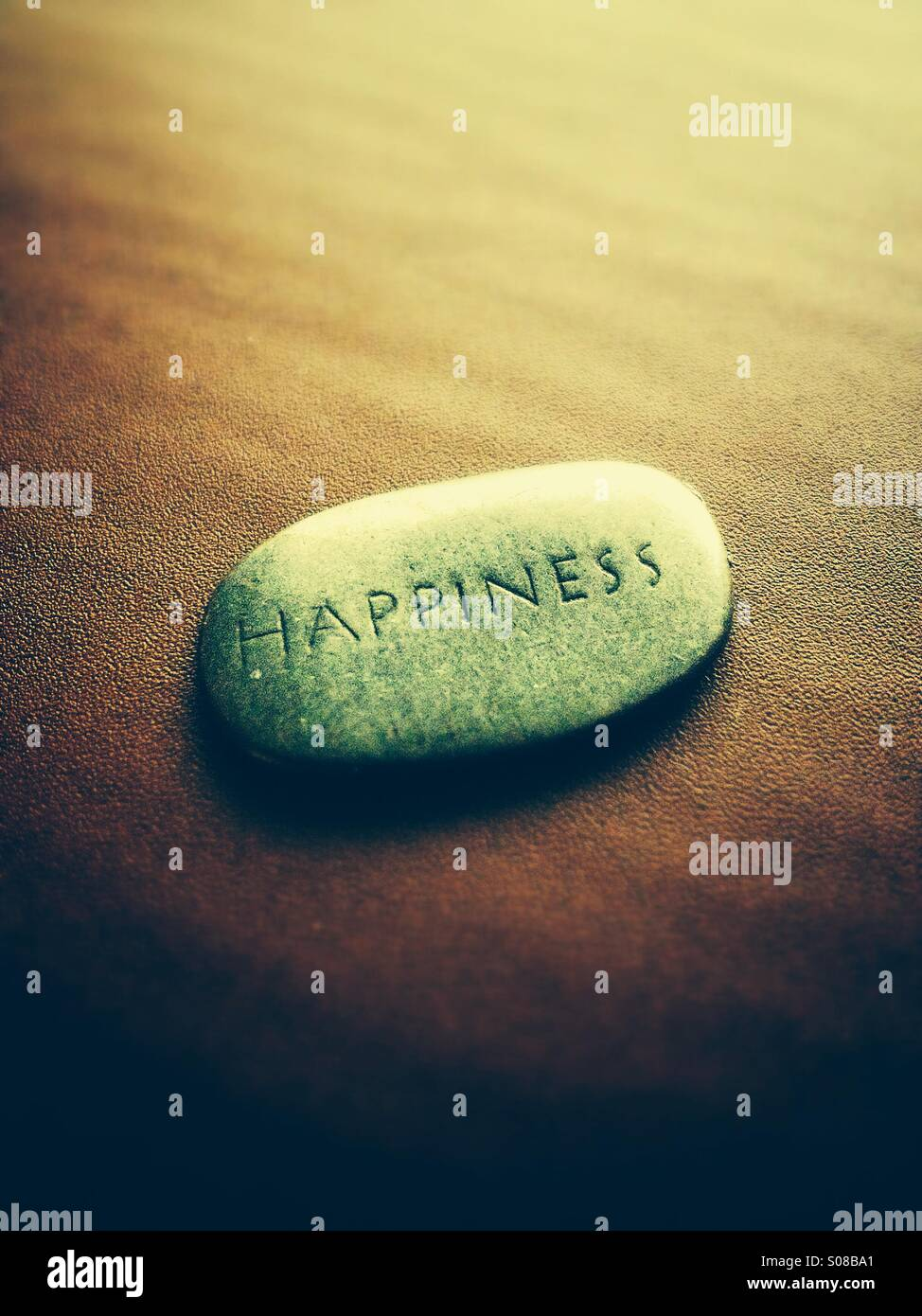 The word happiness carved onto a stone - Stock Image