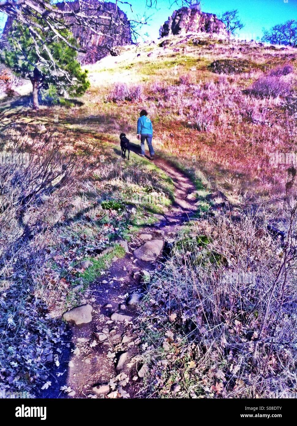 Woman hiking - Stock Image