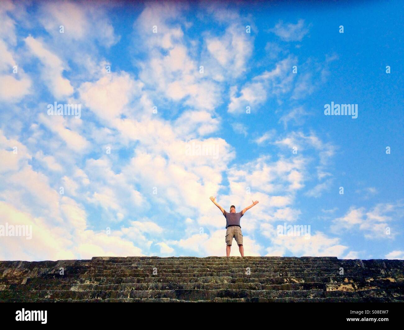An on top of Mayan Pyramid, Tikal, Guatemala - Stock Image