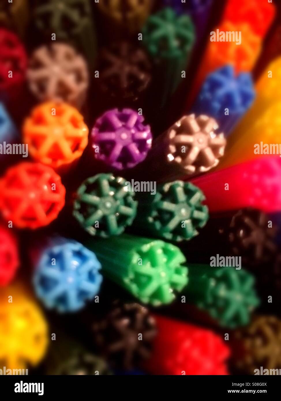 Pentel pen caps in arial view - Stock Image