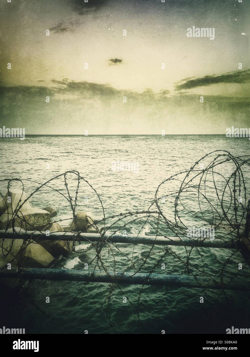 Barbwires by the sea - Stock Image