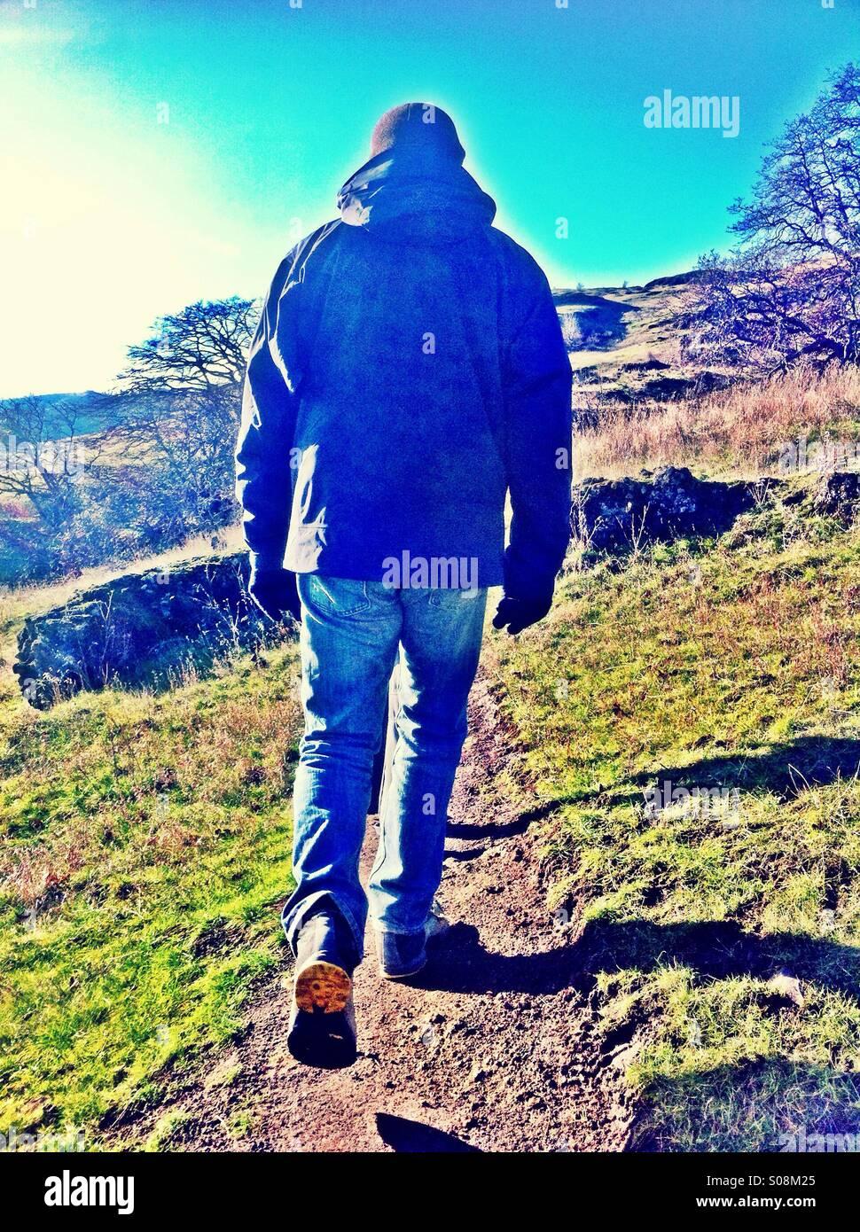 Man hiking - Stock Image