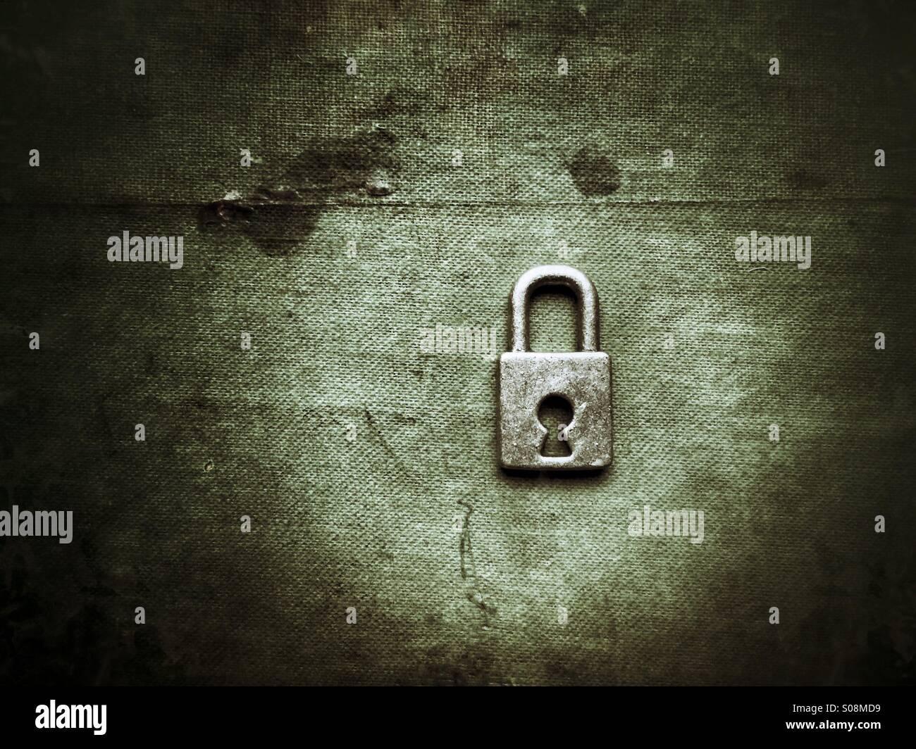 Silver padlock - Stock Image