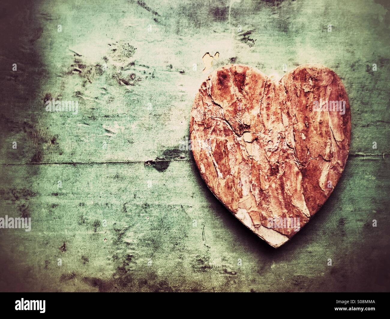 Wooden heart - Stock Image