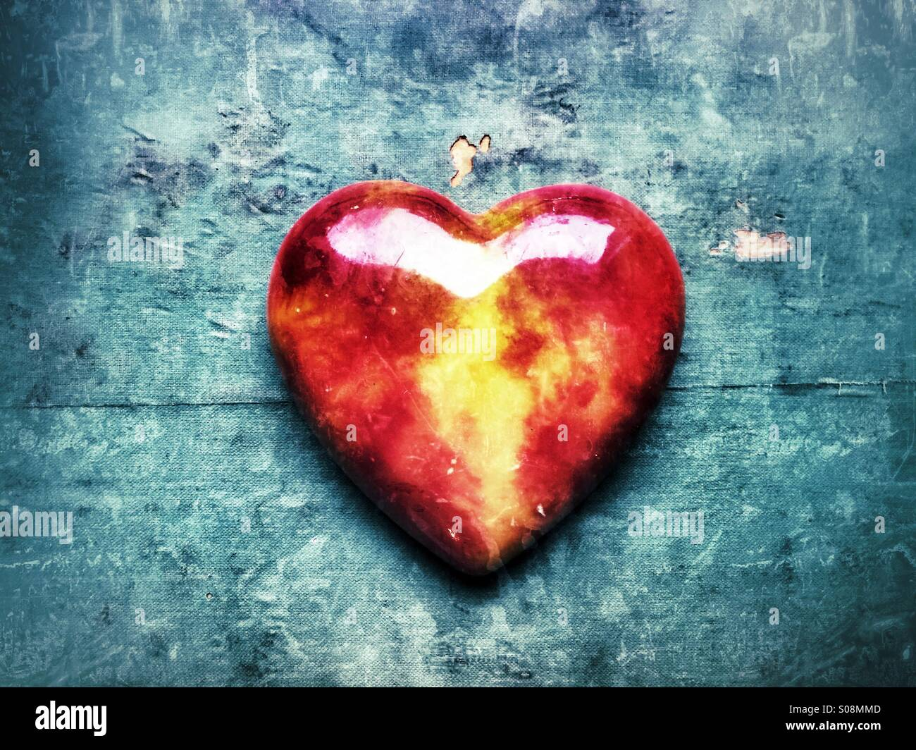 Red glass heart - Stock Image