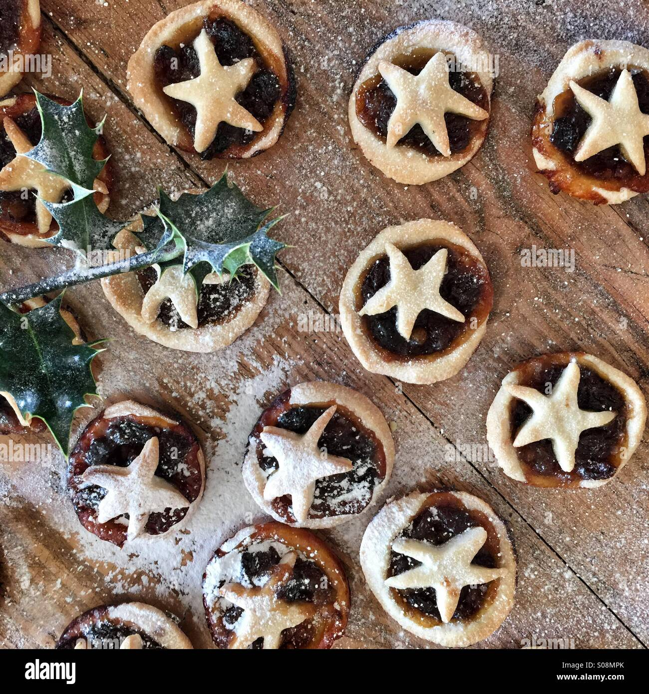 Mince pies at Christmas Stock Photo