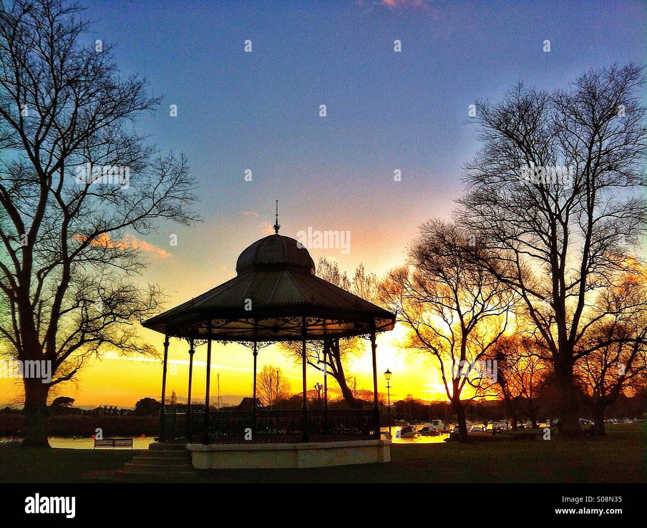 Sunset at the bandstand - Stock Image