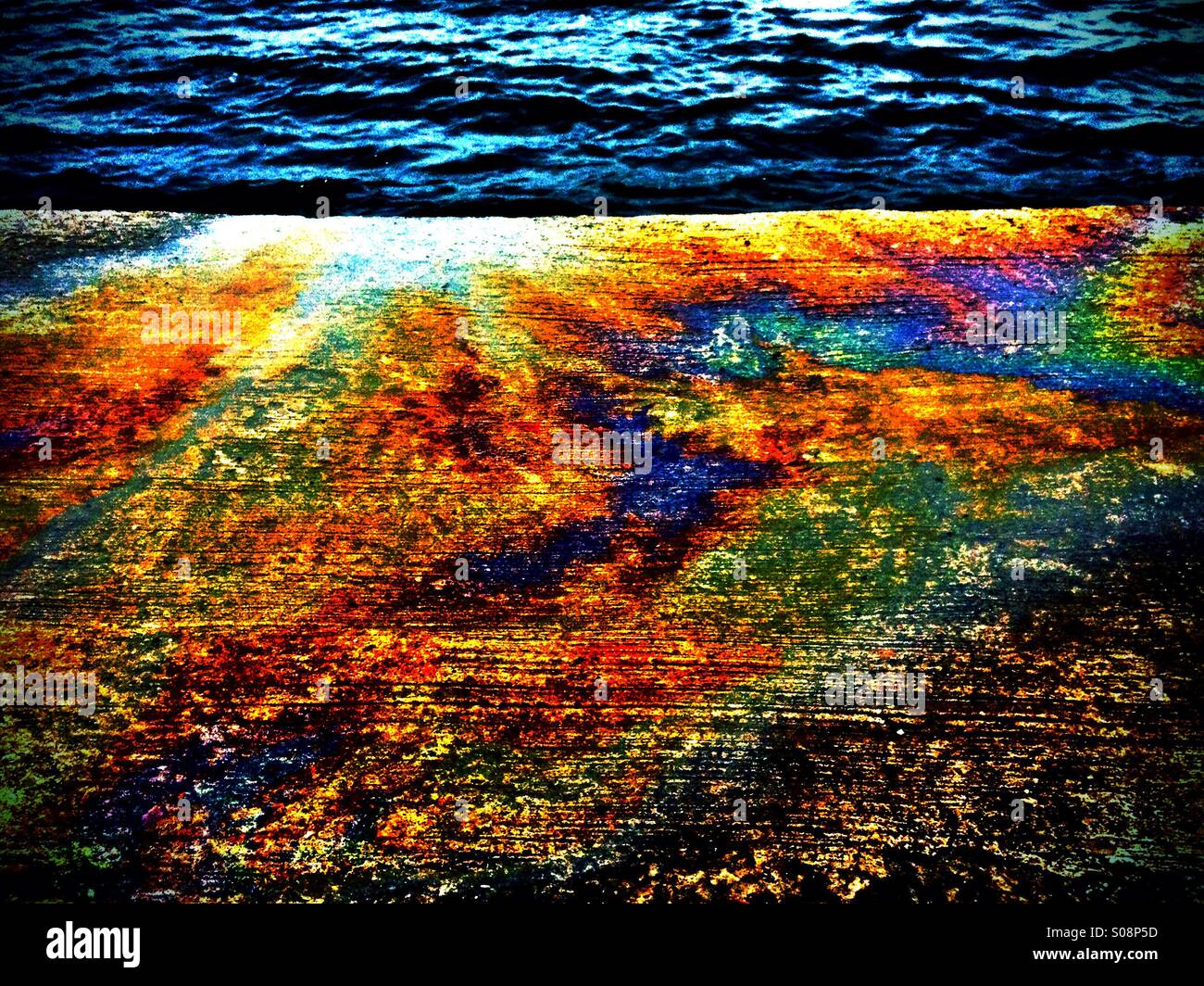 Oil Spill Colour Scene - Stock Image