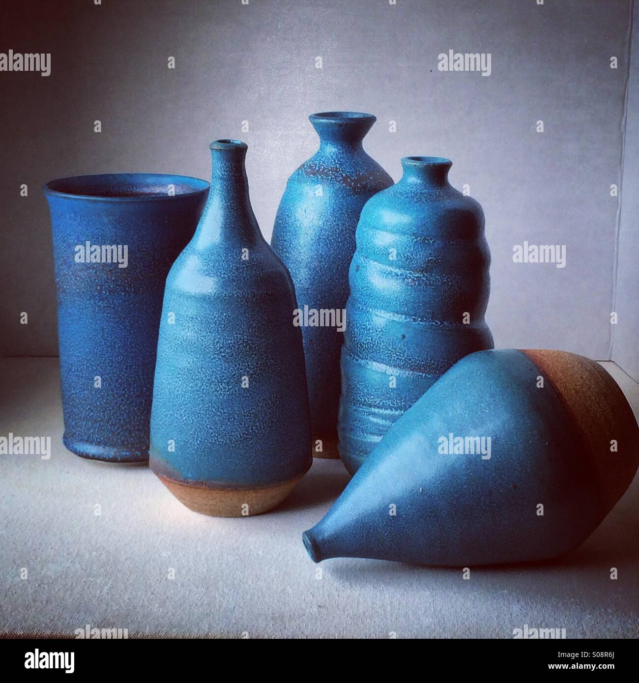 Blue pottery collection - Stock Image