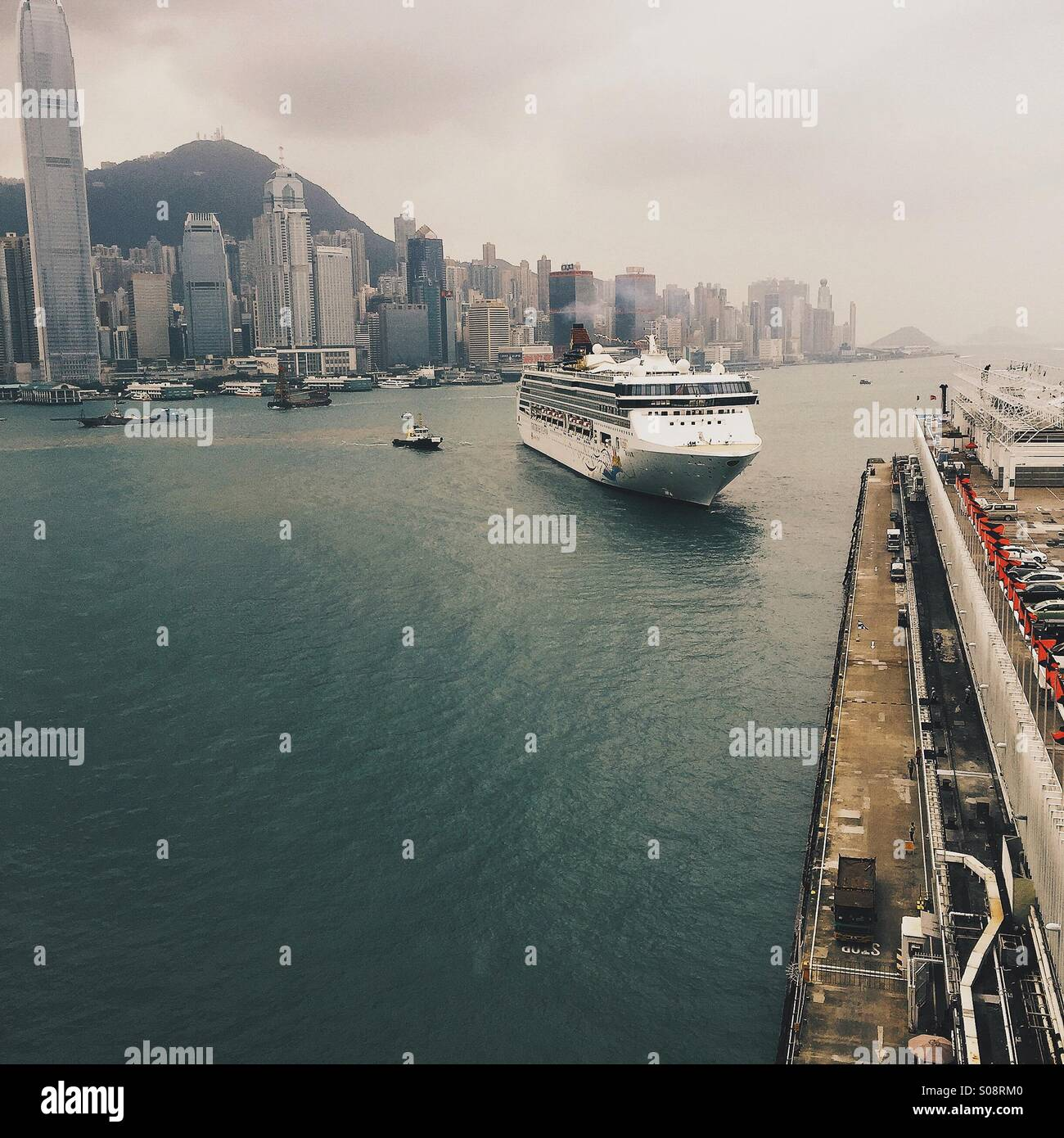 Hongkong victoria harbour with ships - Stock Image