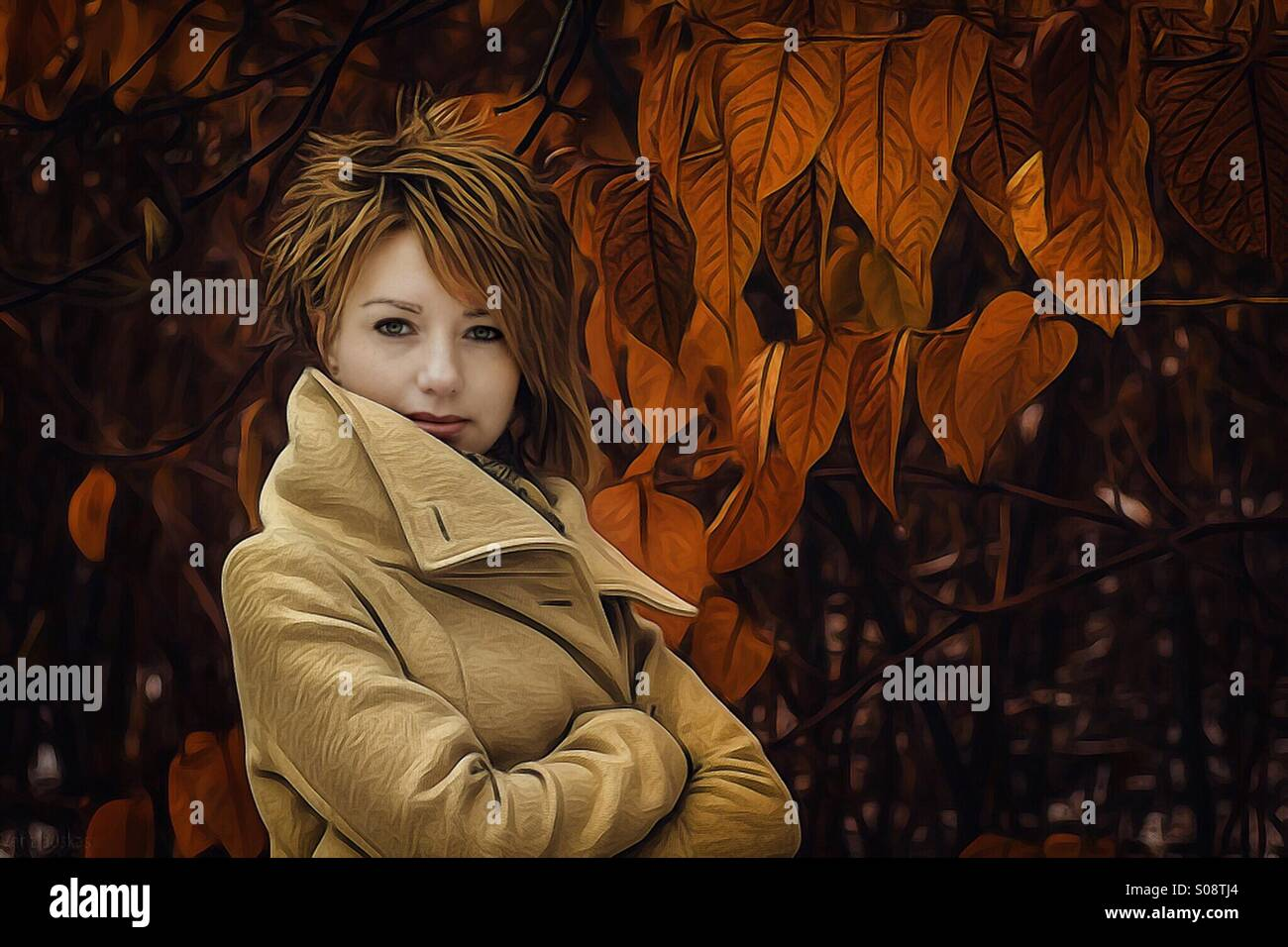Woman autumn portrait Stock Photo