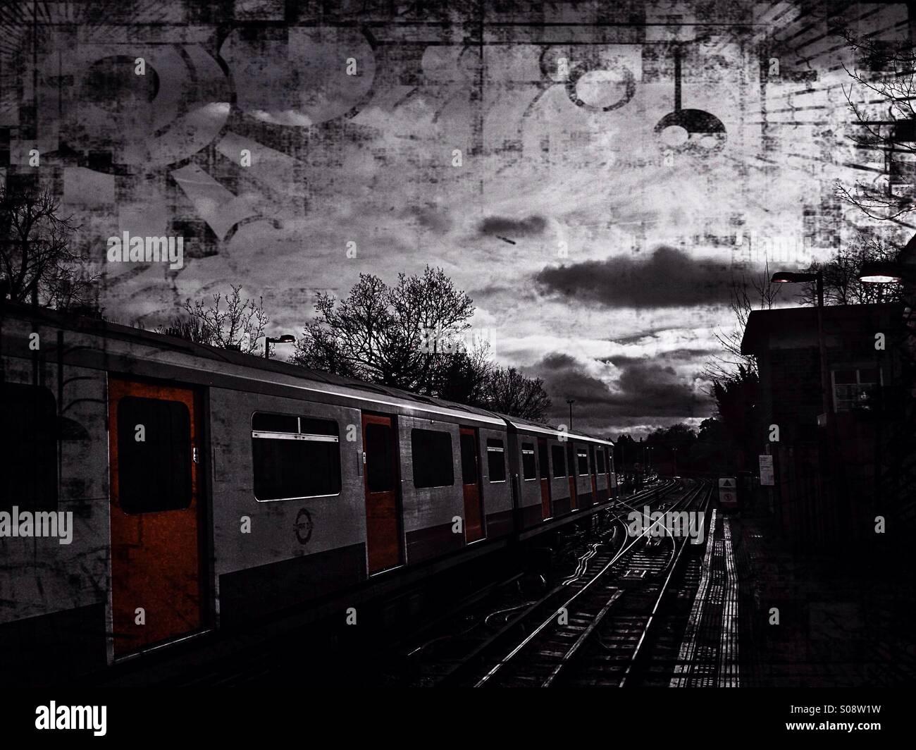 Tube train and tracks, London, UK Stock Photo
