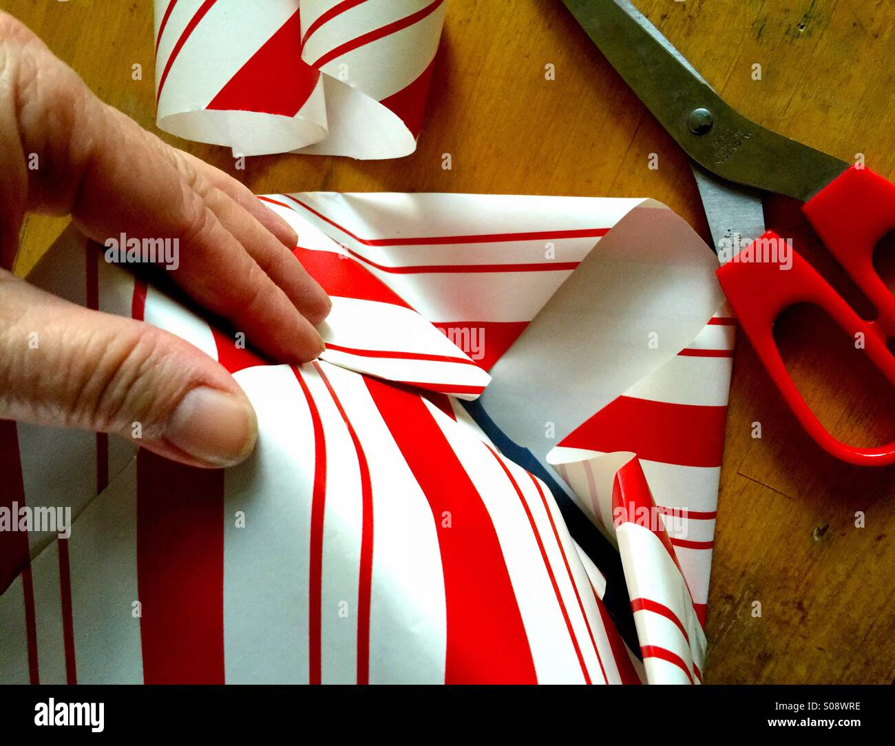 Wrapping Christmas present - Stock Image
