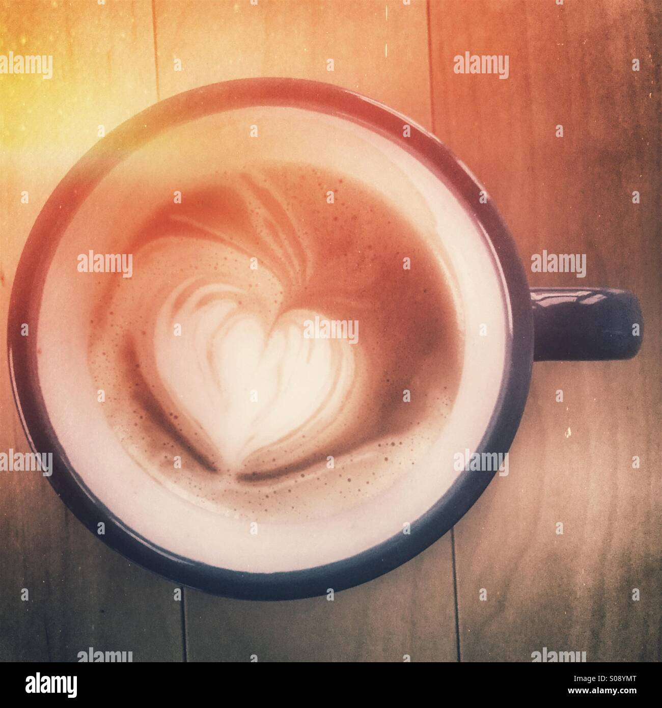 Latte with heart - Stock Image