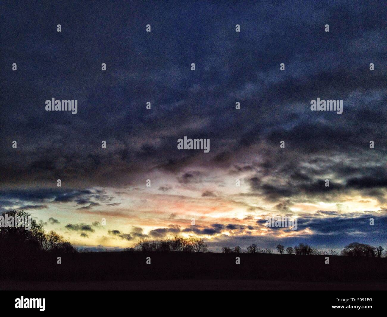 Stormy skyscape at dusk - Stock Image