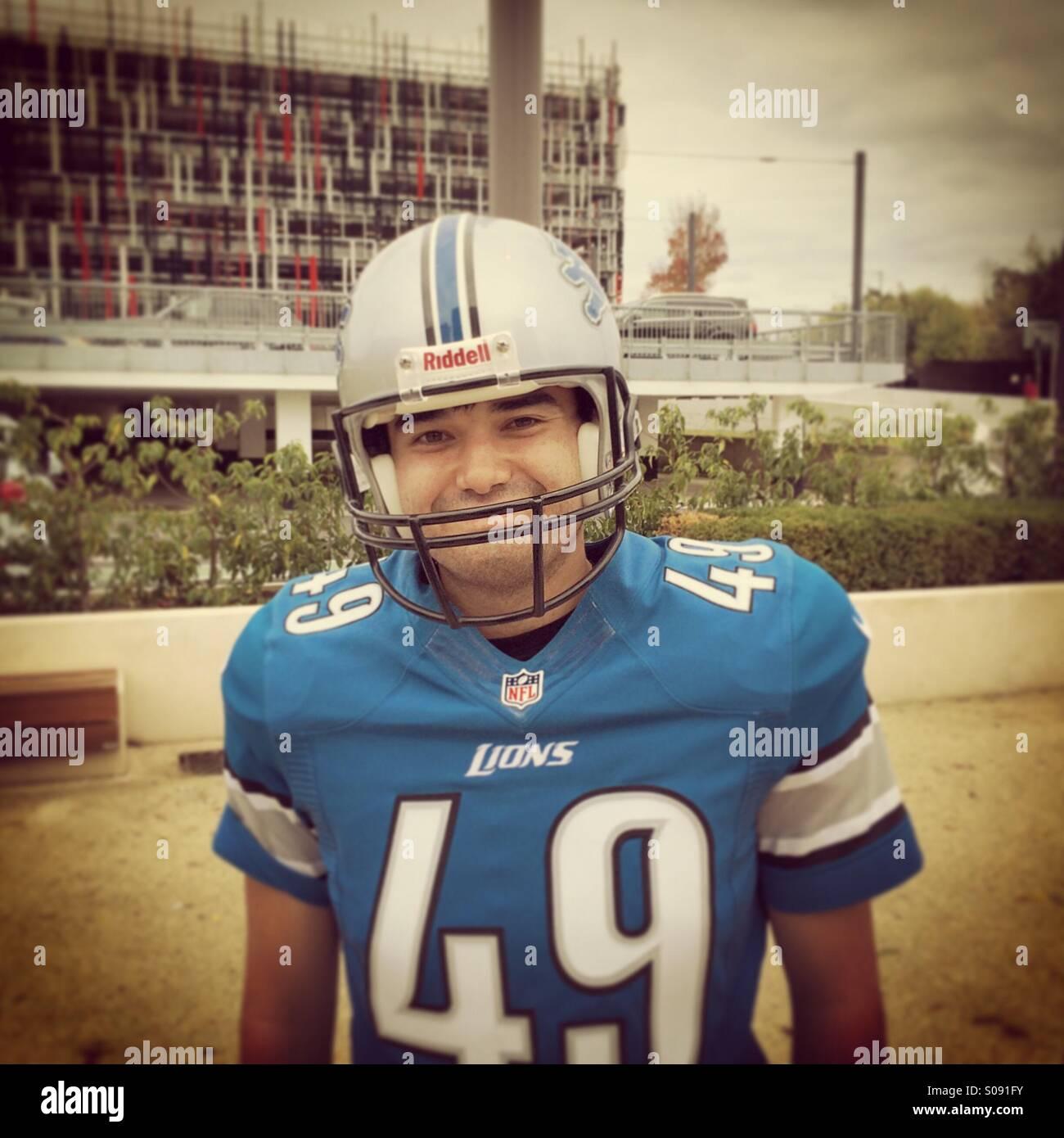 newest 8c7f8 f7e46 Detroit Lions NFL fan in full kit outside London Wembley ...