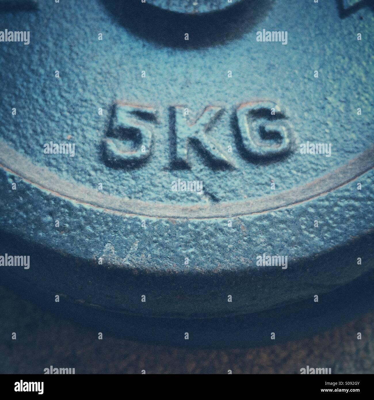 5kg kilogram weight - Stock Image