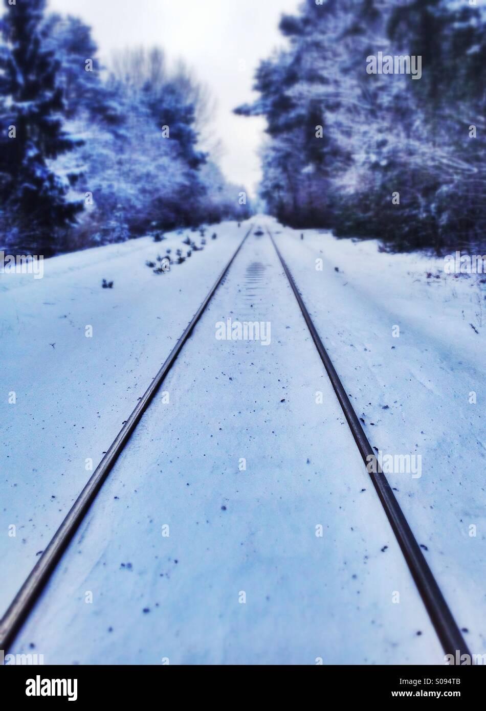 Snow on rail tracks - Stock Image