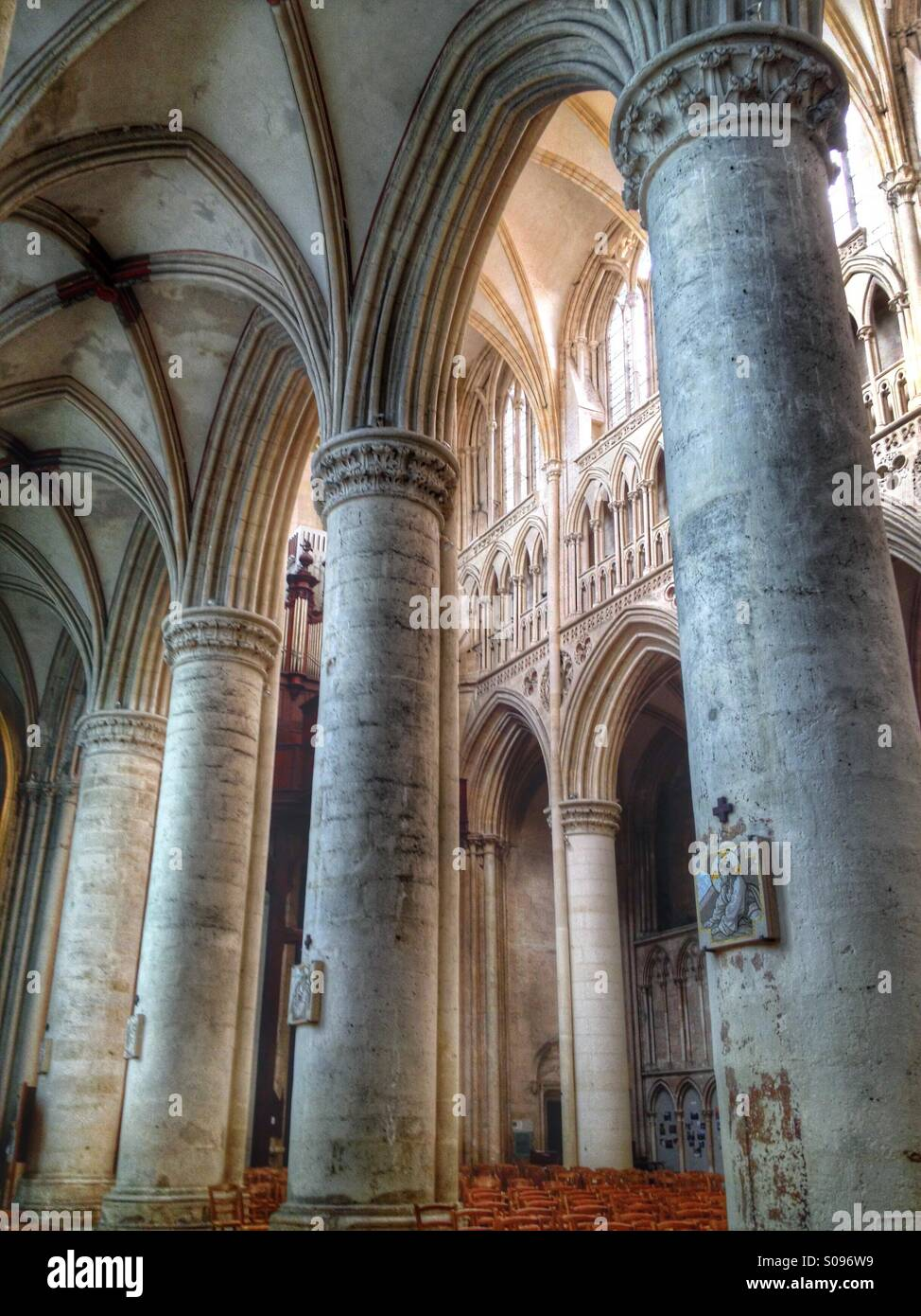Interior with columns. Sees Cathedral, Orne, Normandy, France - Stock Image