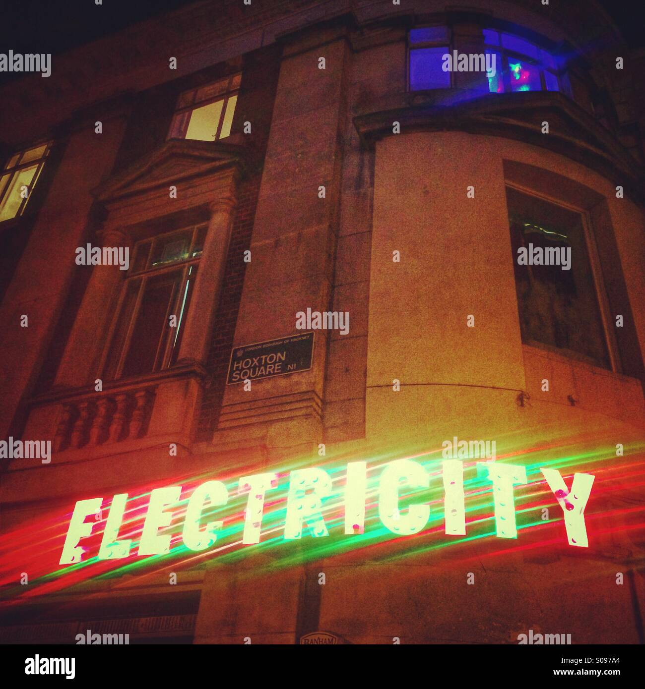 A bright sign at the Electricity Showrooms, Hoxton, London - Stock Image