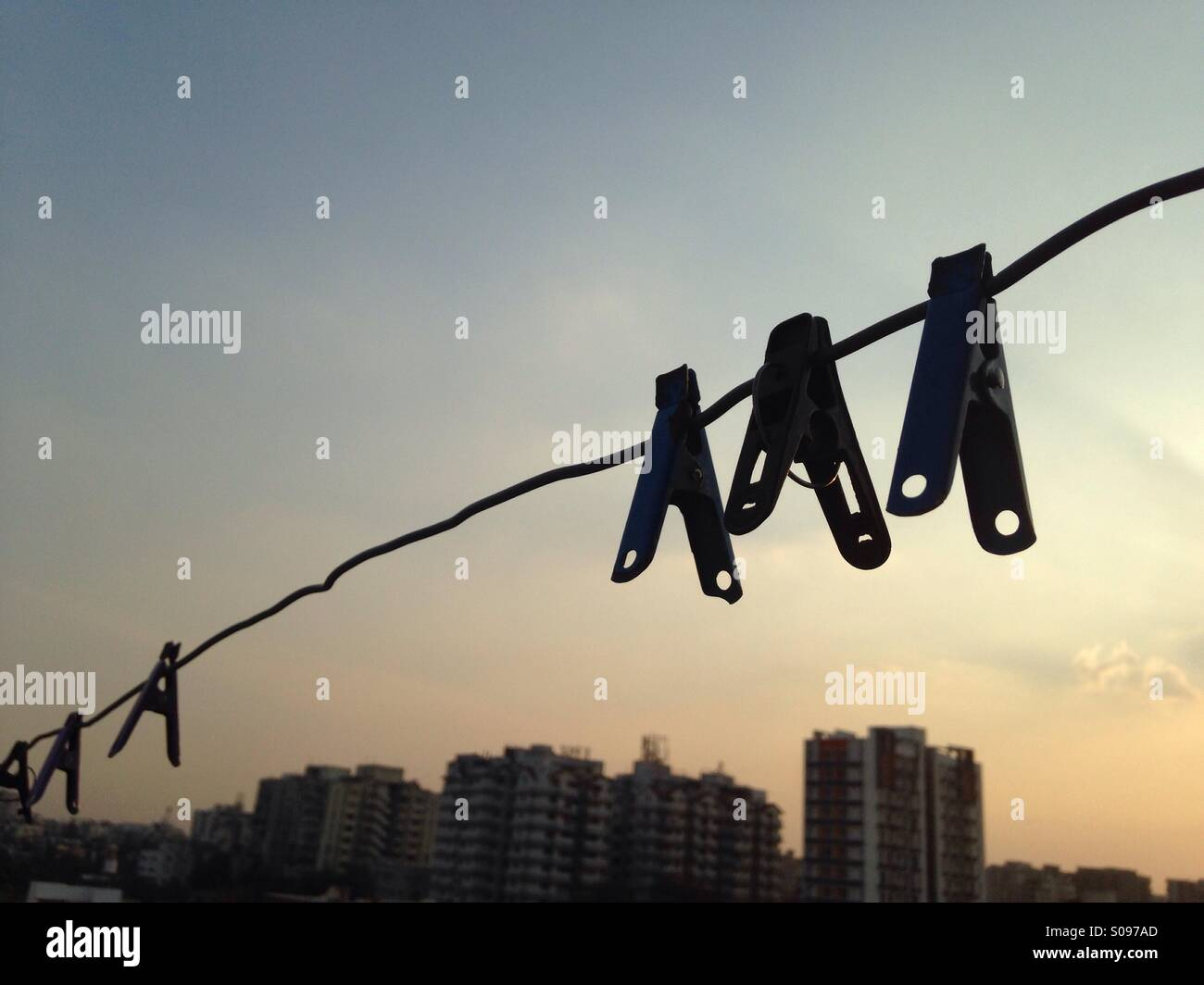 Hanging clips - Stock Image