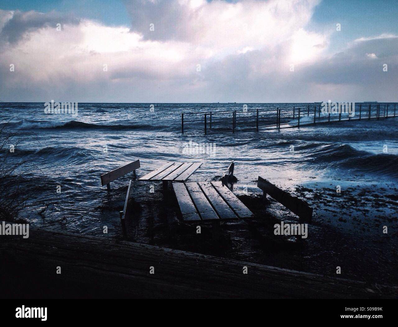 Early phase of flooding during storm in Hellerup, Denmark. - Stock Image
