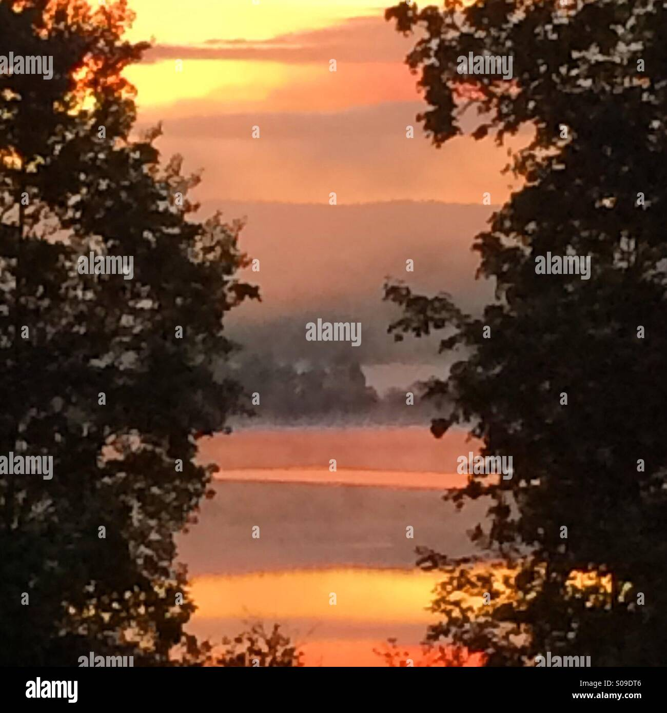 A wonderful early sunrise in Dalarna, Sweden - Stock Image
