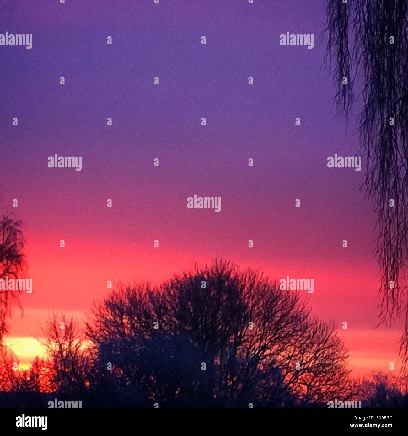 Sunrise in Vassbo, Dalarna, Sweden - Stock Image