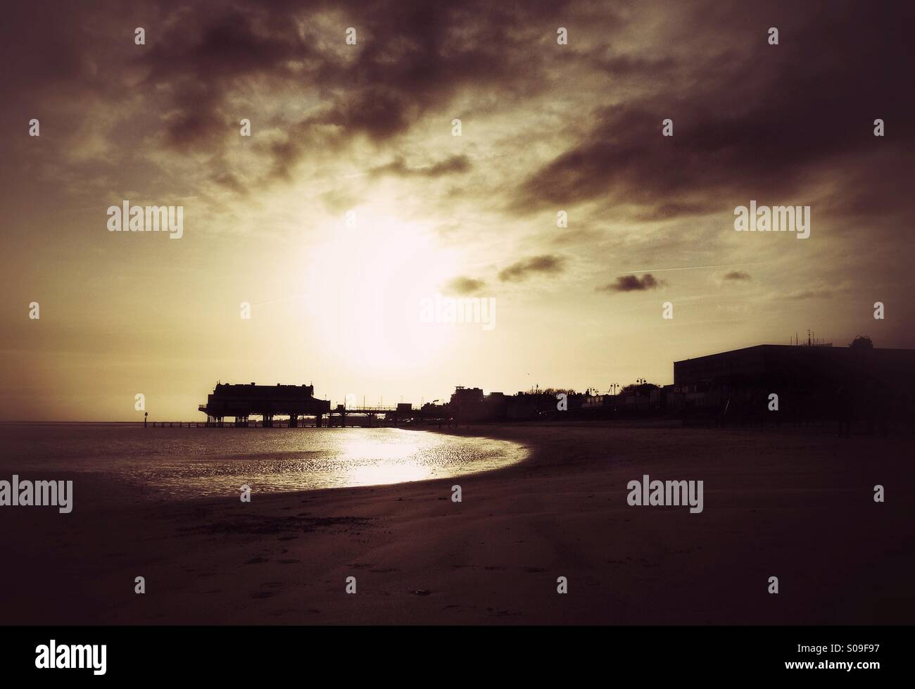 Cleethorpes pier at sunrise. - Stock Image