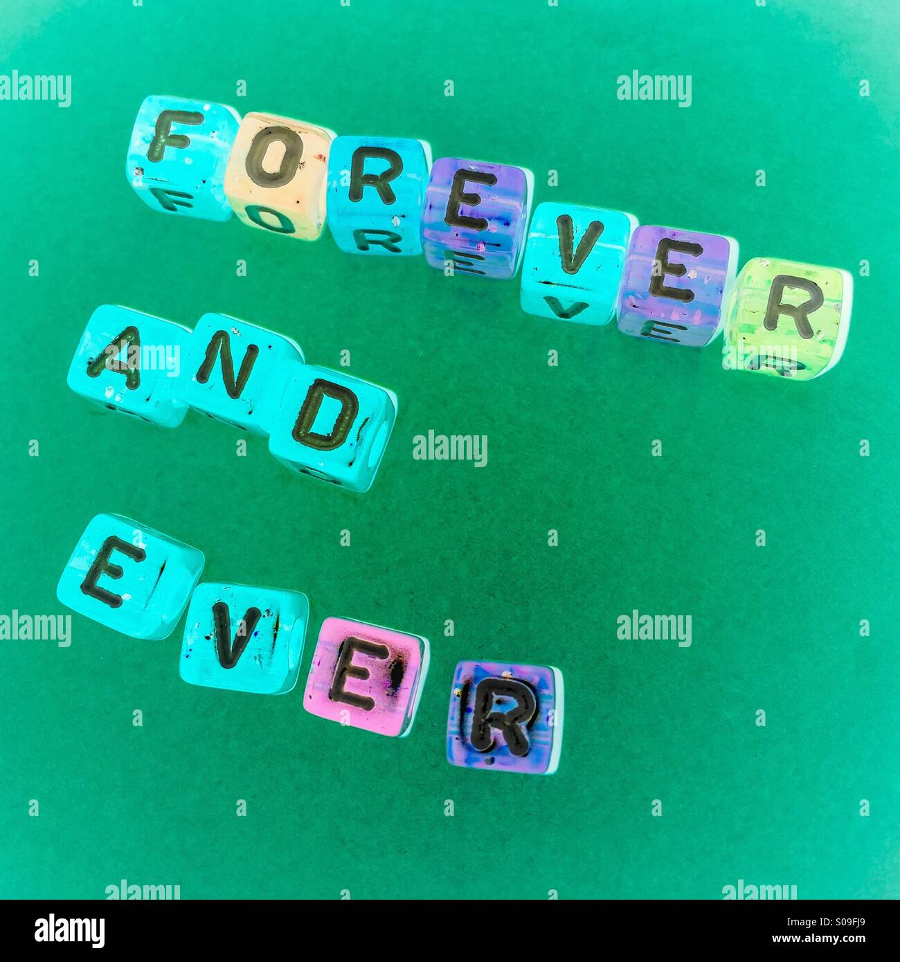 Forever and ever letters - Stock Image