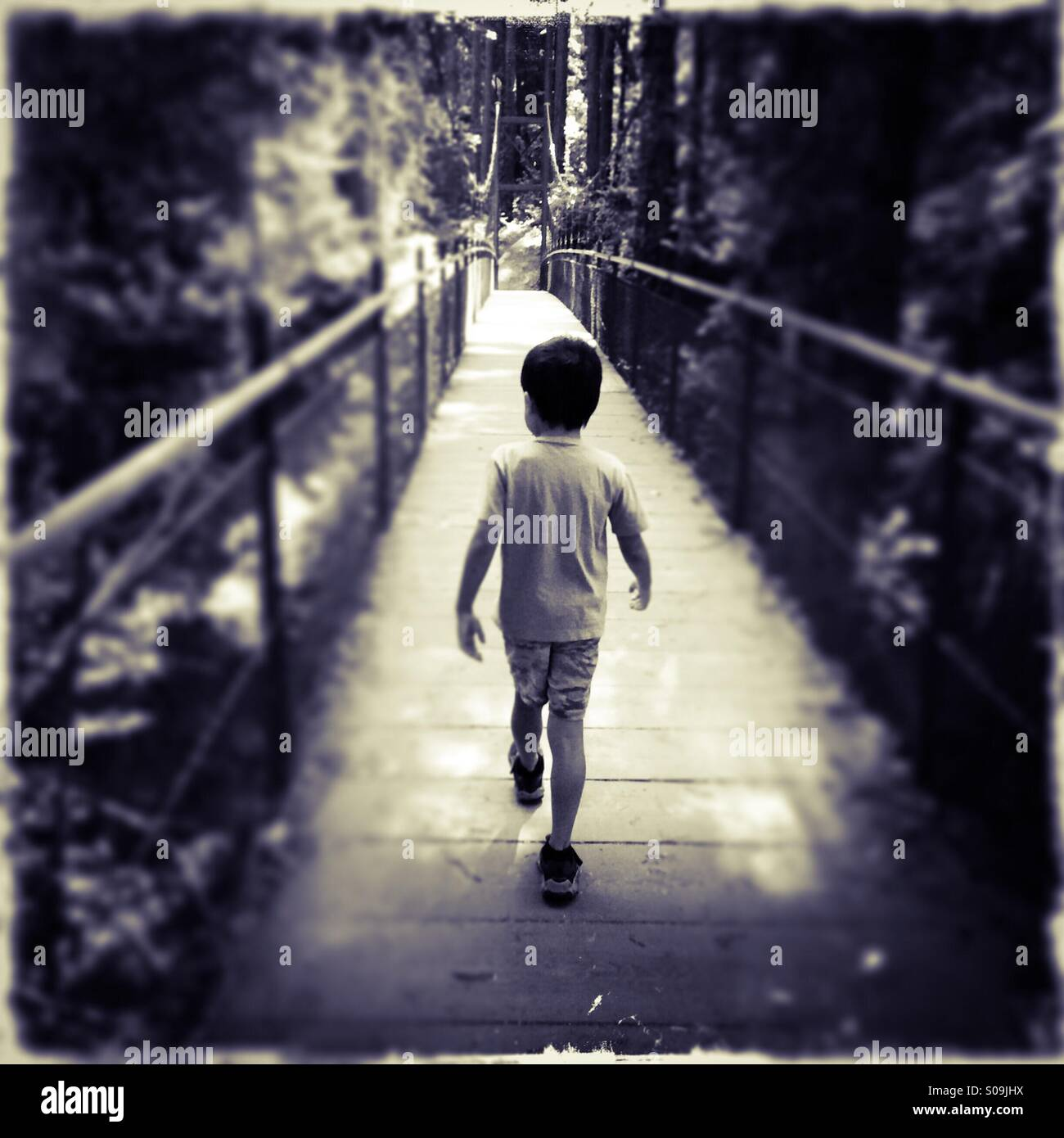 A six year old boy walks across a foot bridge by himself. Stock Photo