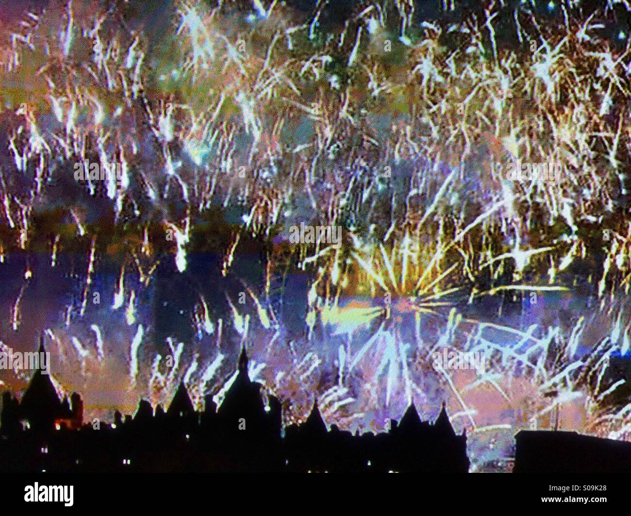 New Years Eve Fire Works London. - Stock Image