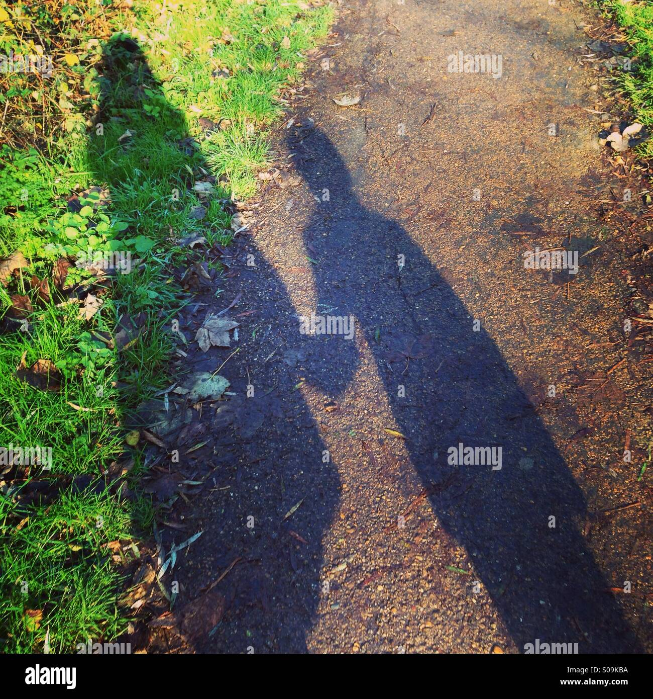 Mother and Son Shadows - Stock Image