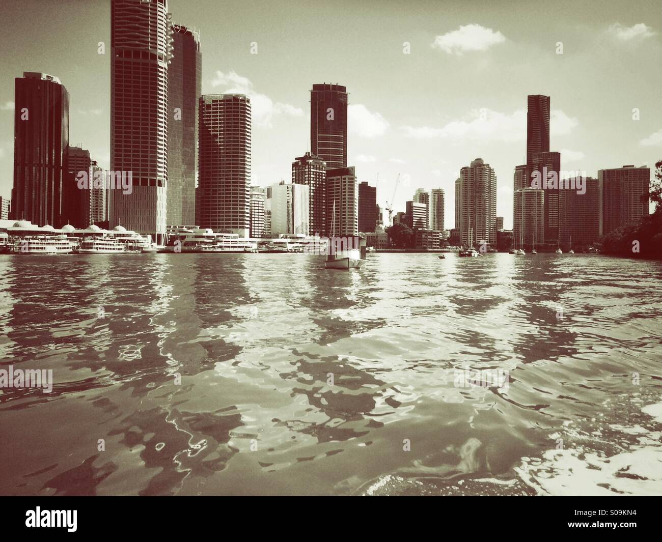 Brisbane City from the Brisbane river. - Stock Image