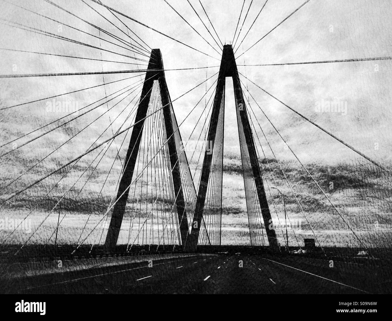 Diagonal lines making patterns and designs at the Hartman Bridge over the Houston Ship Channel, in black and white, - Stock Image