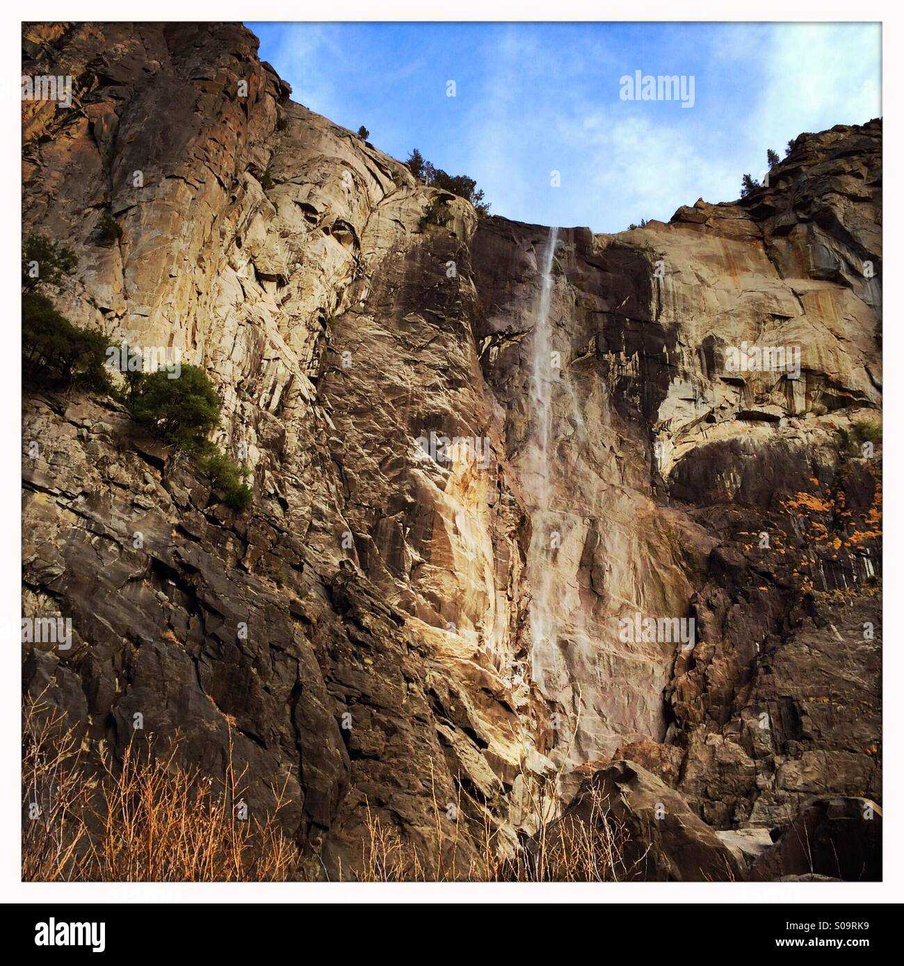 Bridalveil Fall at a trickle in fall during California's third year of drought. November 18, 2014. Yosemite - Stock Image