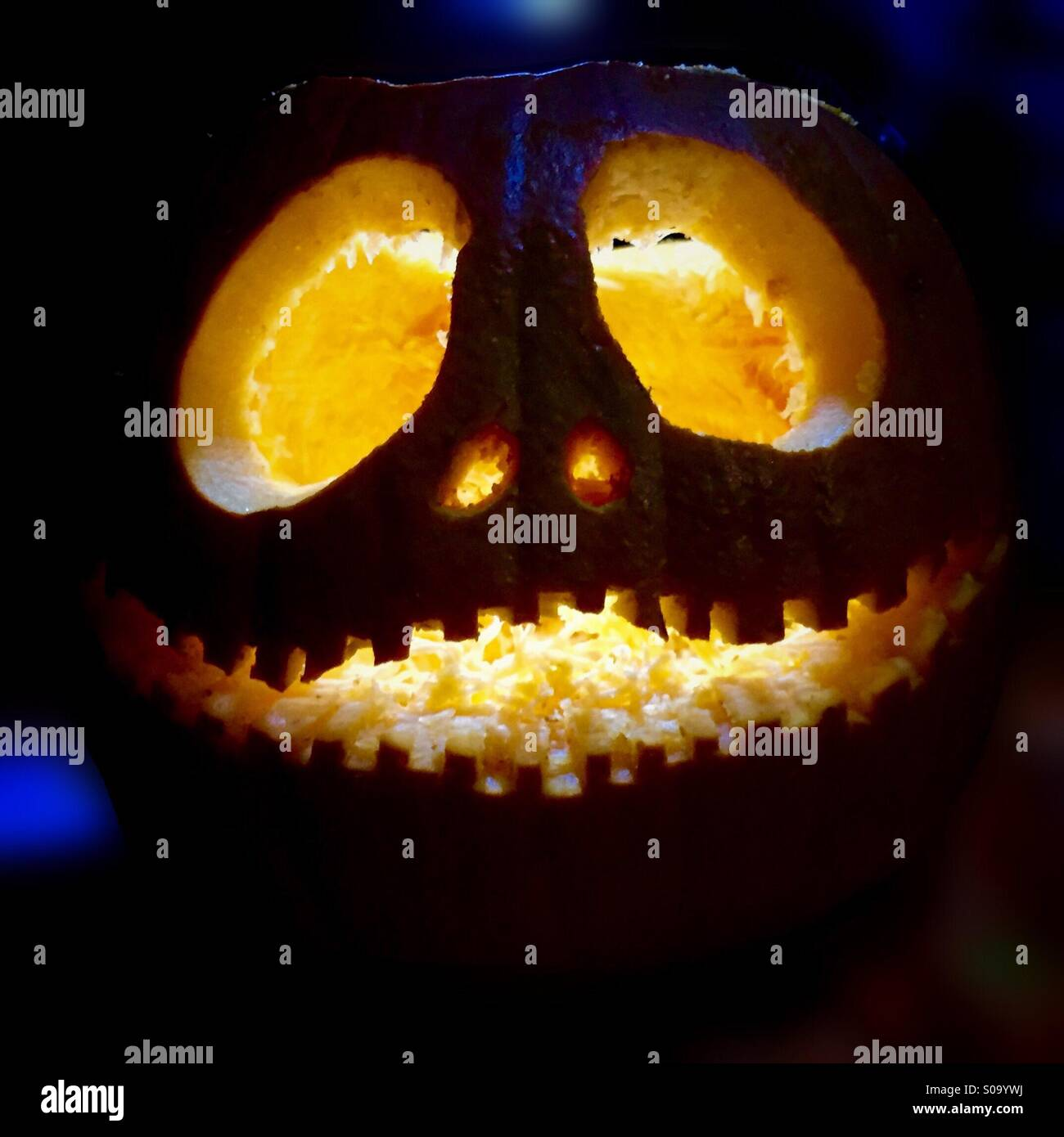 A carved pumpkin in the style of Jack Skellington, from The ...