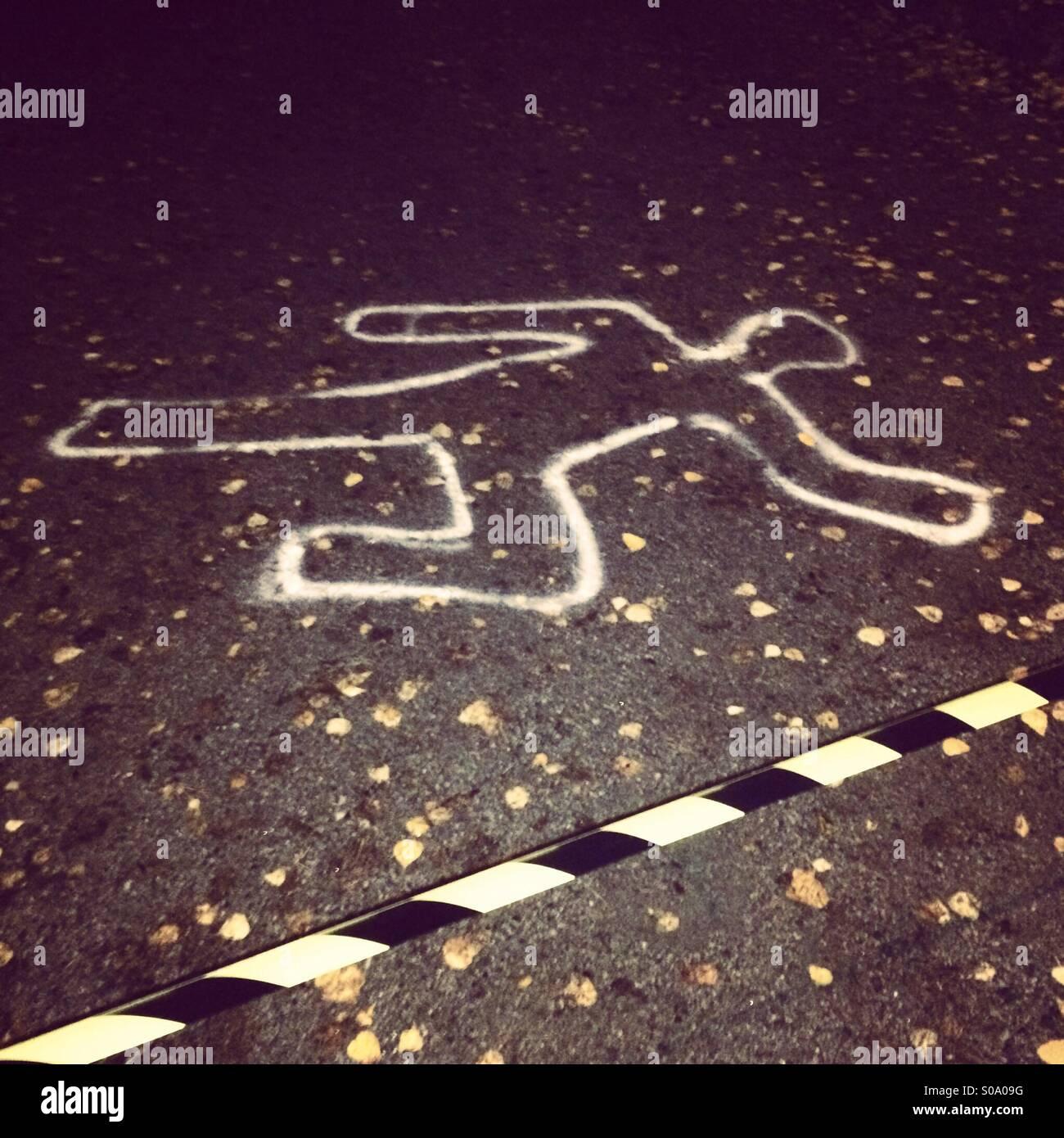 Crime scene draw around the body halloween Stock Photo: 310006412