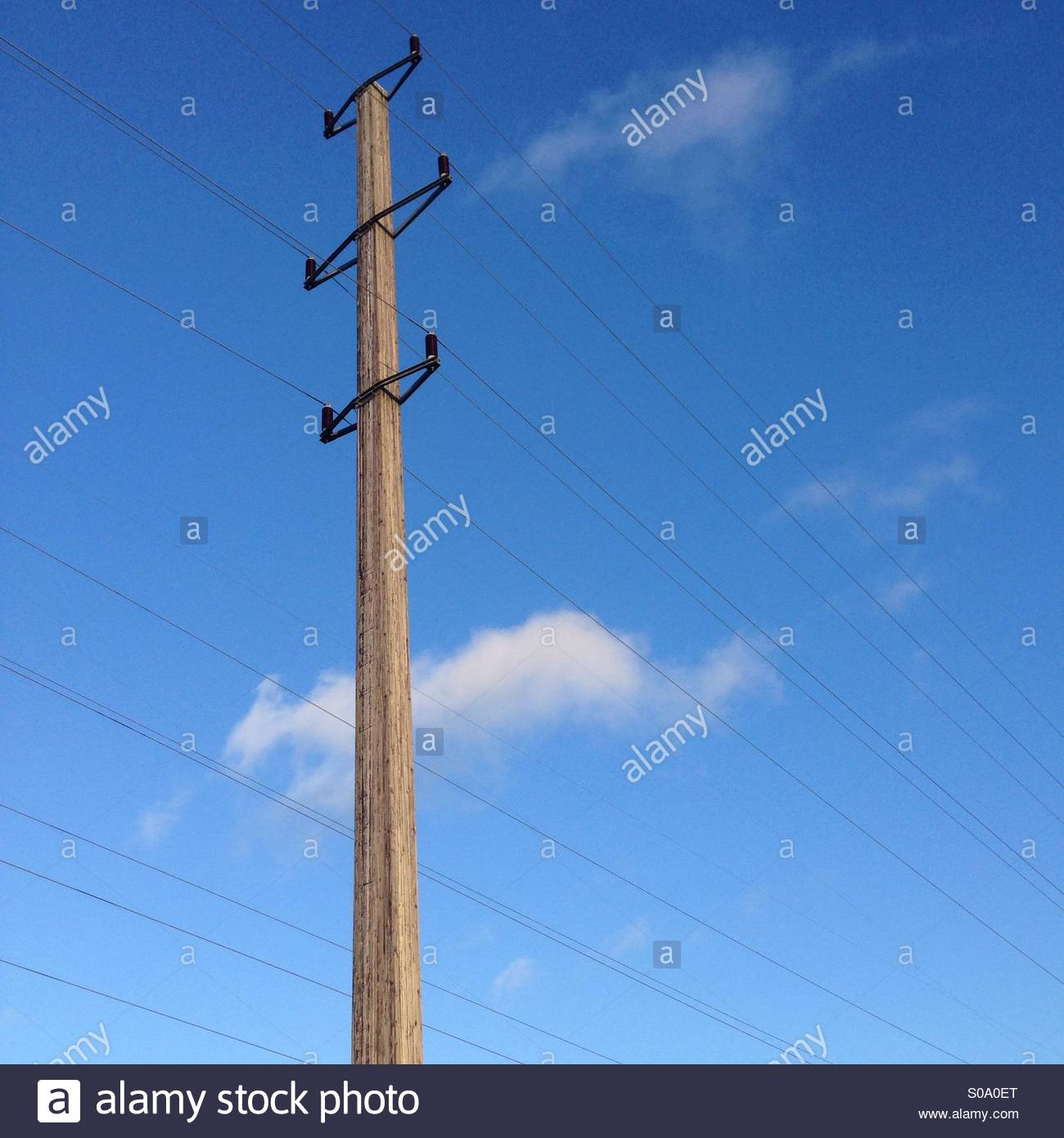 Powerlines shot from below with the sky in the background. - Stock Image