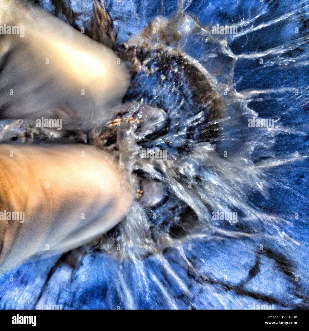 Splashing in puddle - Stock Image