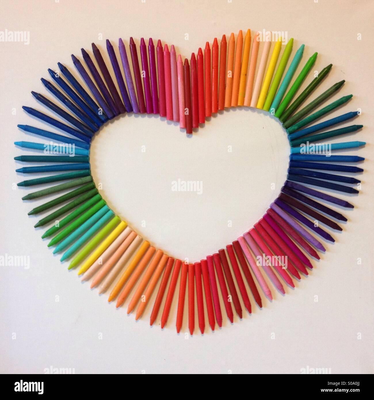 Wax crayon heart - Stock Image