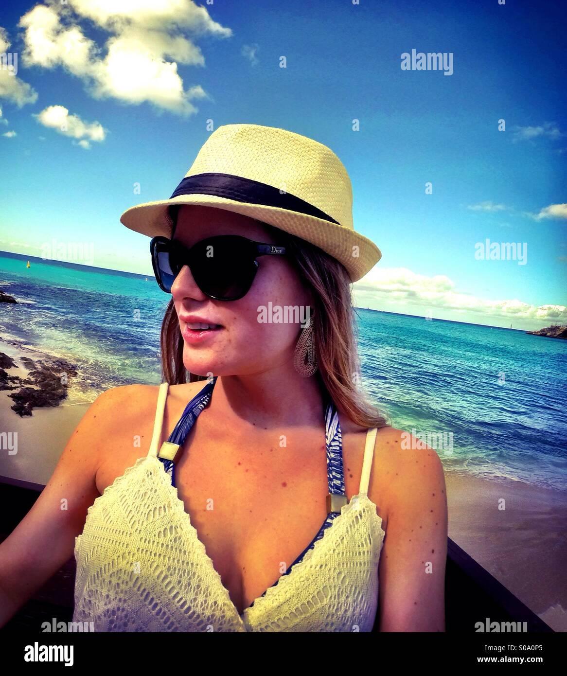 Caribbean Saint Maarten islands portrait - fashion, beach, travel, lifestyle - Stock Image